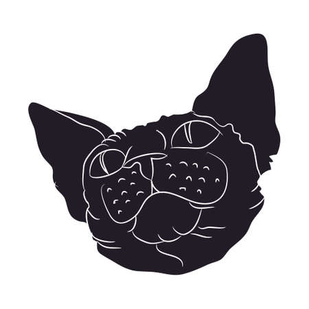 Cat silhouette vector, white background, cat portrait