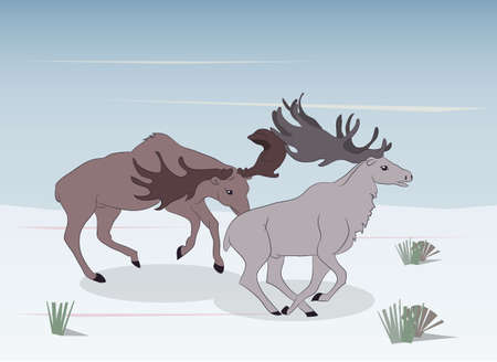 a strong deers running in the mountains, vector Archivio Fotografico - 129014335
