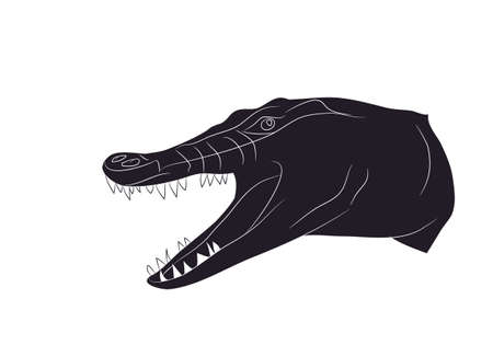 vector illustration of a crocodile portrait, drawing silhouette, vector, white background Çizim