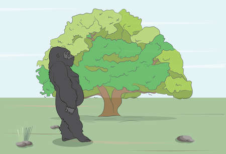 vector illustration of a gorilla on the wild, vector