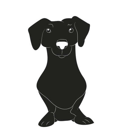 Vector illustration of a dachshund that sits, silhouette, vector, white background. Иллюстрация