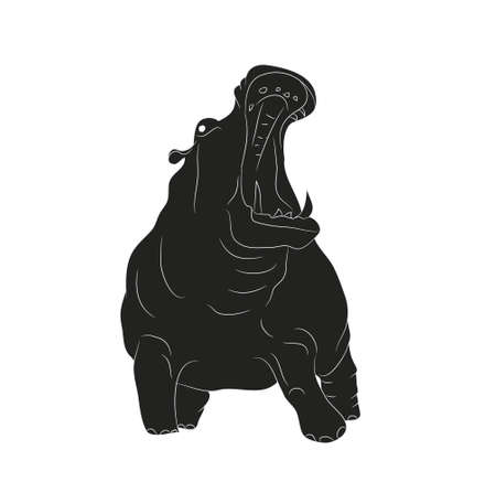 Hippo stands drawing silhouette, vector, white background
