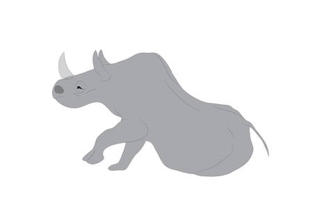 vector illustration of a gray rhino, vector, white background