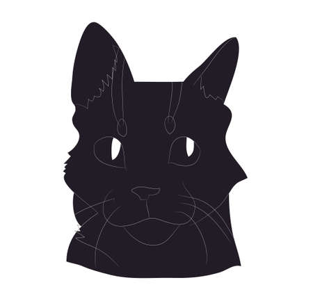 vector illustration of cat portrait, drawing silhouette, vector, white background