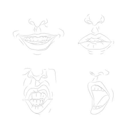 vector illustration of the outline of the lips line drawing, vector, white background Ilustração