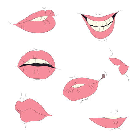 vector illustration of the outline of the lips drawing colored, vector, white background, bright red lips