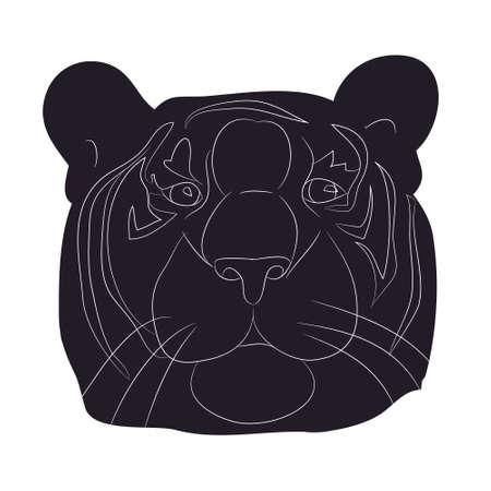 vector illustration portrait tiger drawing silhouette, vector, white background Ilustração