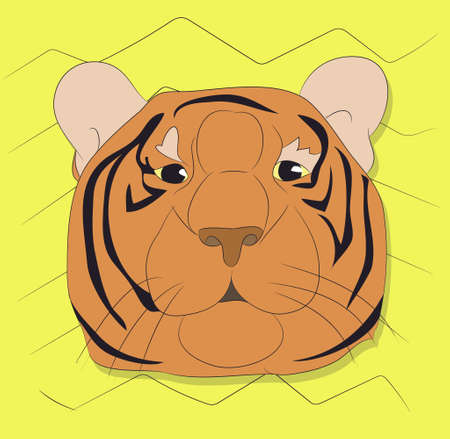 vector illustration portrait of a tiger on a background, vector