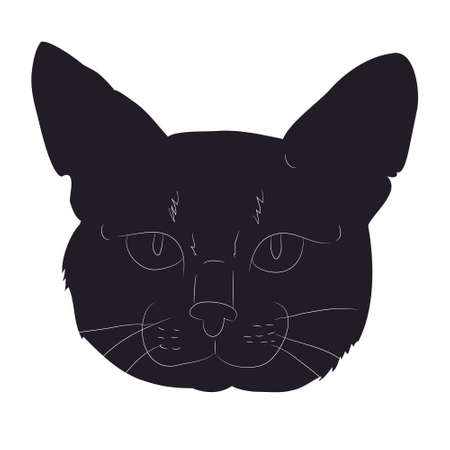 vector illustration of cat portrait, drawing silhouette, vector, white background Banque d'images - 134887737
