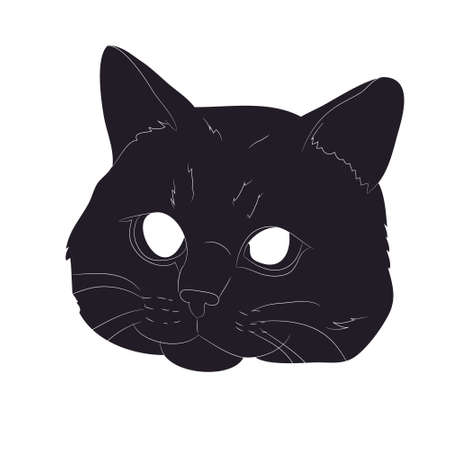 vector illustration of cat portrait, drawing silhouette, vector, white background Banque d'images - 134887738