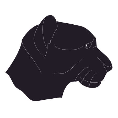 vector illustration of a lioness portrait, silhouette drawing, vector, white background