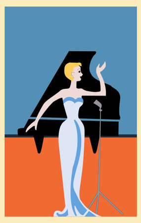 vector illustration of a card which depicts a girl who sings, retro postcard, vector