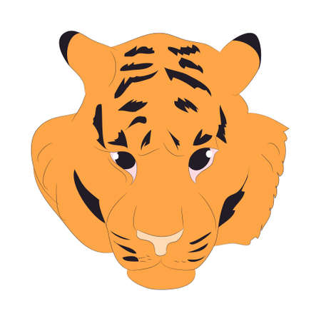 vector illustration portrait of an orange tiger, vector, white background
