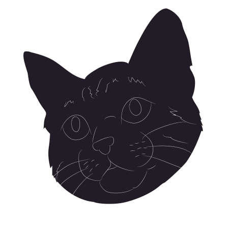 vector illustration of cat portrait, drawing silhouette, vector, white background Banque d'images - 134887916