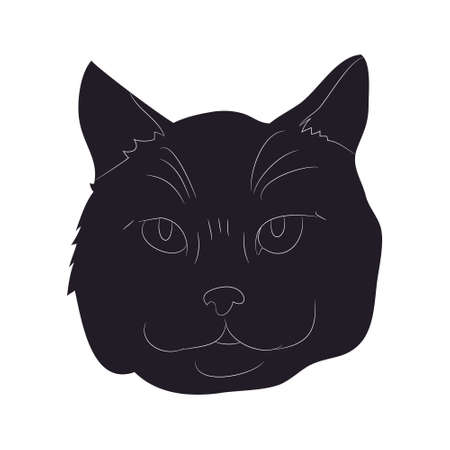vector illustration of cat portrait, drawing silhouette, vector, white background Banque d'images - 134887919