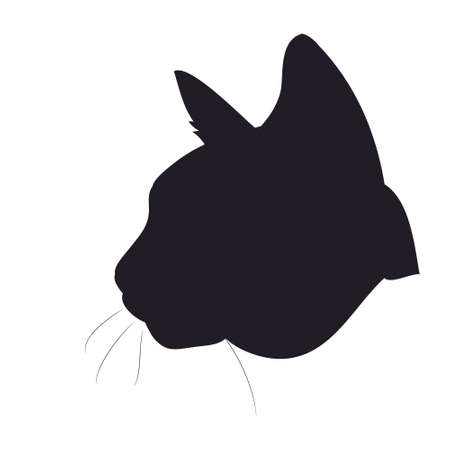 vector illustration of cat portrait, drawing silhouette, vector, white background Banque d'images - 134887920