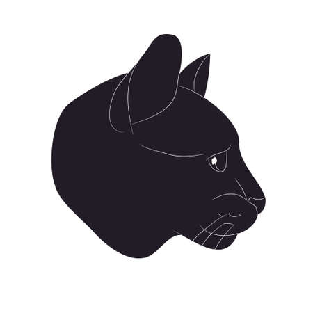 vector illustration of cat portrait, drawing silhouette, vector, white background Banque d'images - 134887922