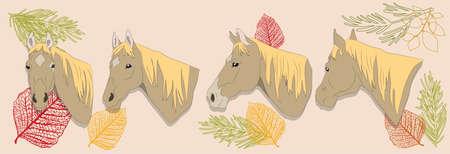 horse portrait vector illustration on a colored background, vector, colored background Ilustração