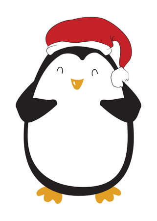 vector illustration of a penguin, in a hat, happy penguin, new year, christmas, vector, white background