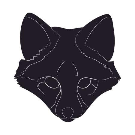 fox portrait vector illustration, silhouette drawing, wild world, vector, white background