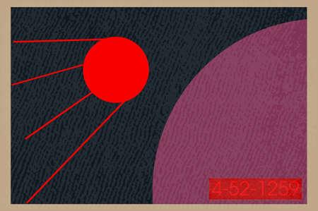 vector illustration, space retro postcard, vector, outer space