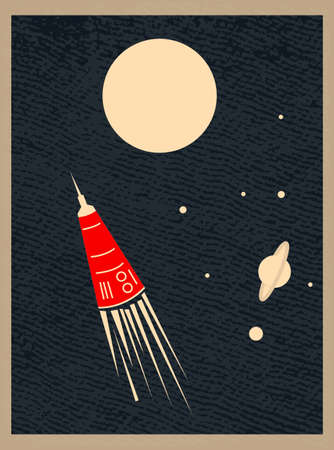 vector illustration, space retro postcard, vector, outer space