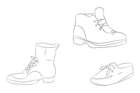 Vector illustration of shoes, line drawing, vector, white background