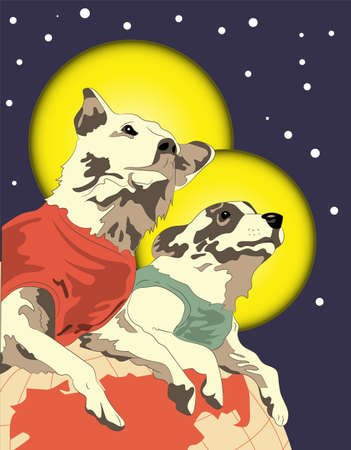 vector illustration, retro postcard with Belka and Strelka in space, dogs in space, astronautics day