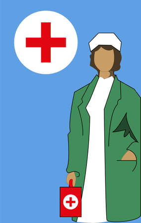 vector illustration of medical representative, vector, postcard doctor