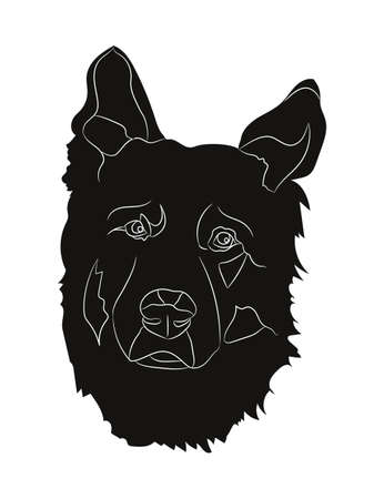 dog portrait silhouette, vector, white background, silhouette, Çizim
