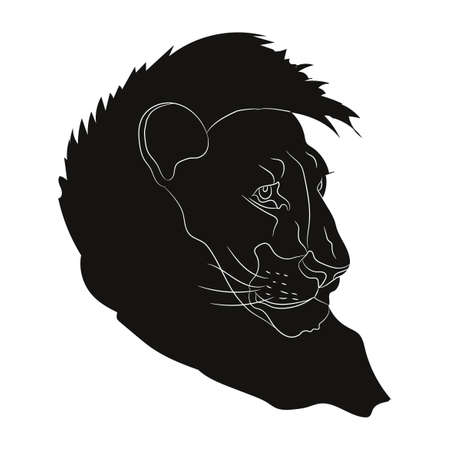 lion vector, drawing silhouette, vector, white background