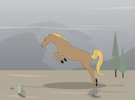vector illustration of a horse on nature, drawing in color, vector