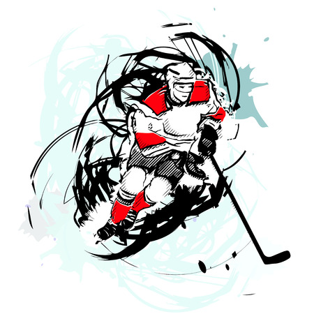 ice hockey player on watercolor