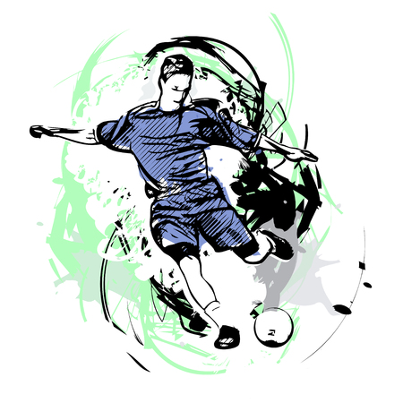 aquarell: soccer player on watercolor Illustration