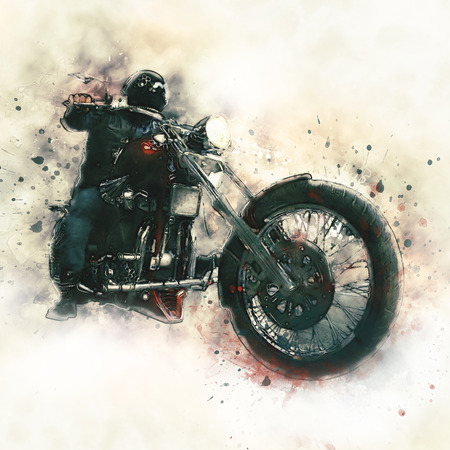 motorcycle road: Biker on a motorcycle on white Background Stock Photo