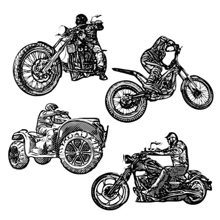 moto: four moto sports illustrations Illustration