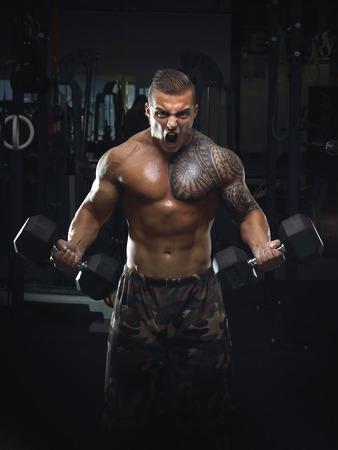 screaming Bodybuilder in the Gym Foto de archivo