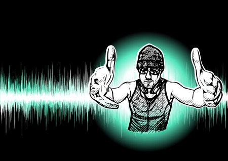 nightlife: DJ Illustration on Black Background