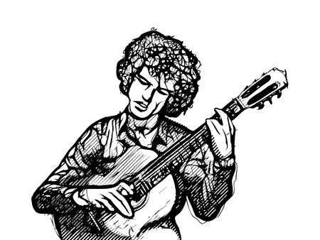 chord: guitarist vector illustration