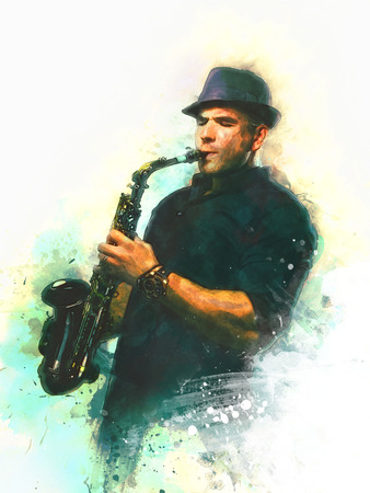saxophonist: saxophonist illustration on white background