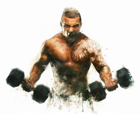 gym workout: Painting of screaming Bodybuilder on white Background Stock Photo