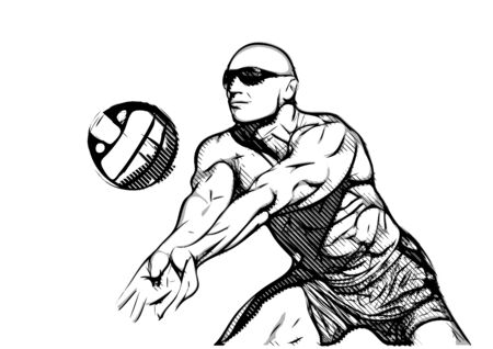 hitting: Beach volleyball player in action 2 Illustration