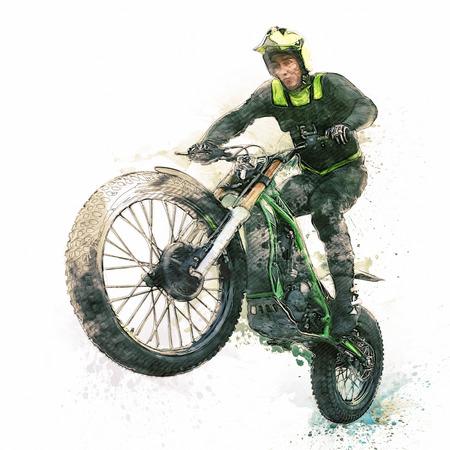 Motocross Rider illustration on white background