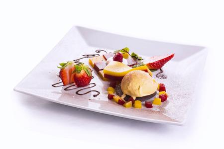 vanilla ice cream with raspberries and strawberries