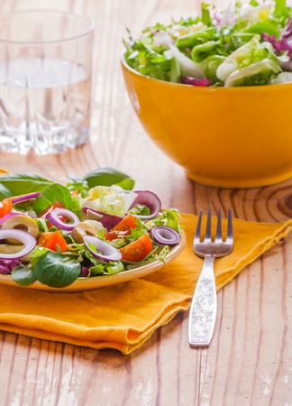vegetarian salad with lettuce, tomatoes, olives and onions.