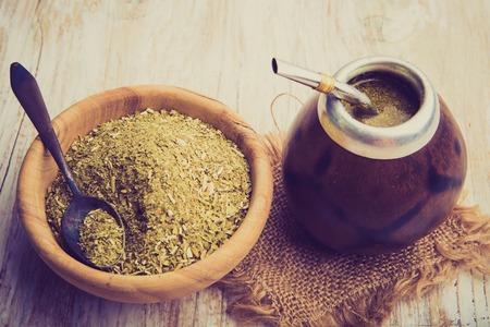 latin america: Vintage photo of traditional yerba mate tea popular in latin america