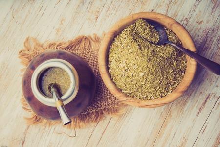 Vintage photo of traditional yerba mate tea popular in latin america