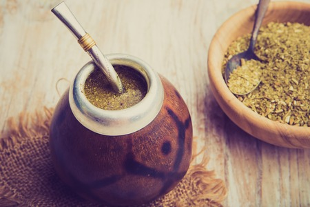 mate: Vintage photo of traditional yerba mate tea popular in latin america