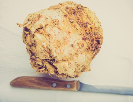 celery root: Vintage photo of celery root on a white table Stock Photo