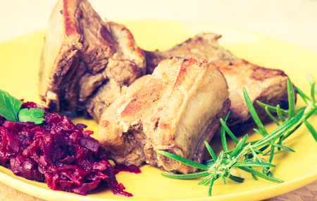 cros: Vintage photo of roasted ribs wirh beets